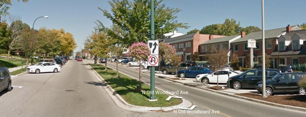 Traffic calming along Old Woodward Avenue included a tree-lined central median and angled parking.