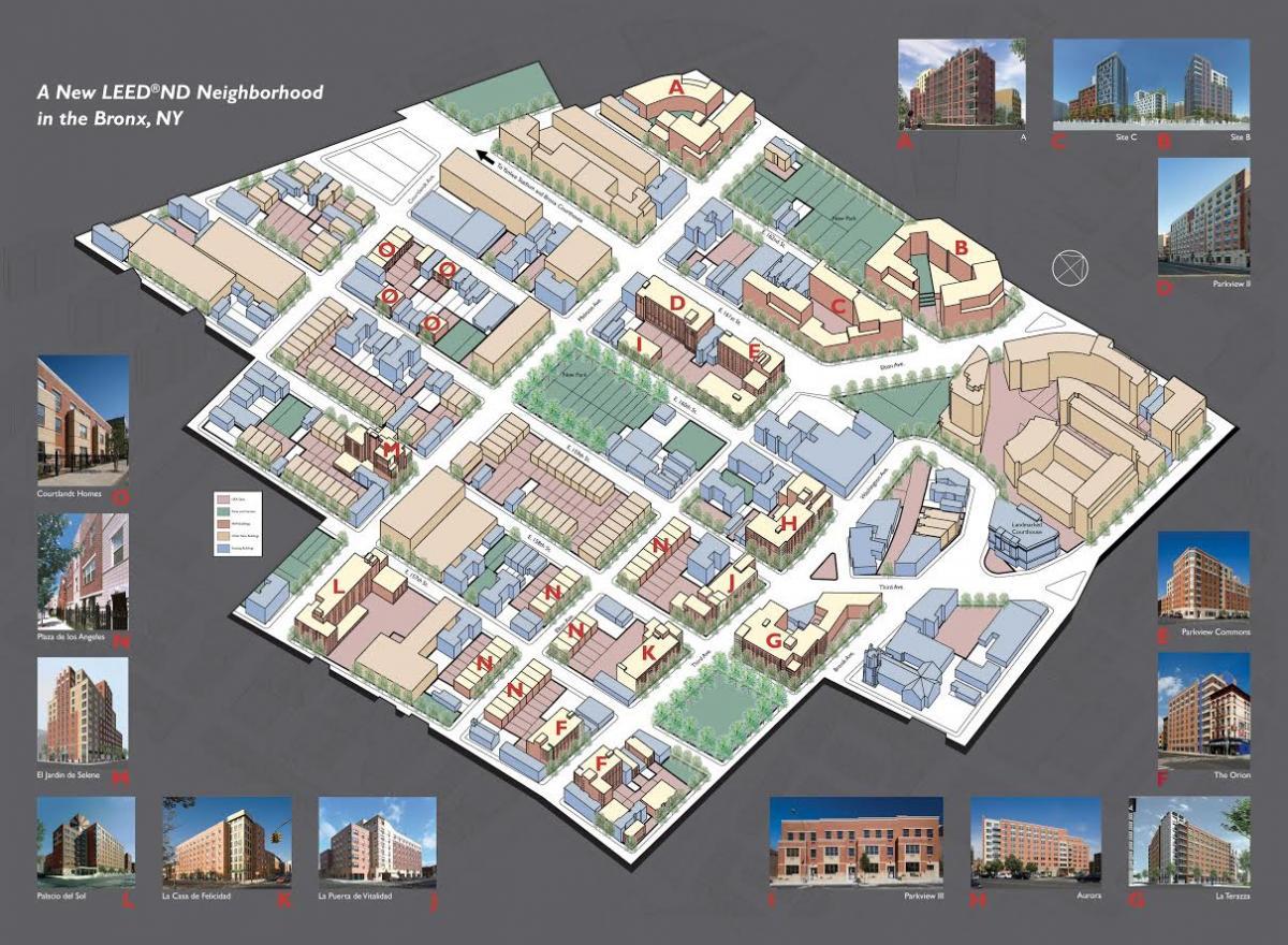 An aerial plan of the neighborhood