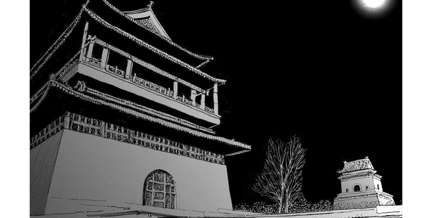 Beijing Bell Tower moonlight
