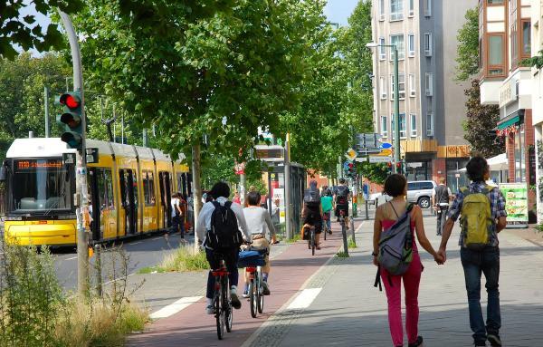 People enjoying a walkable street