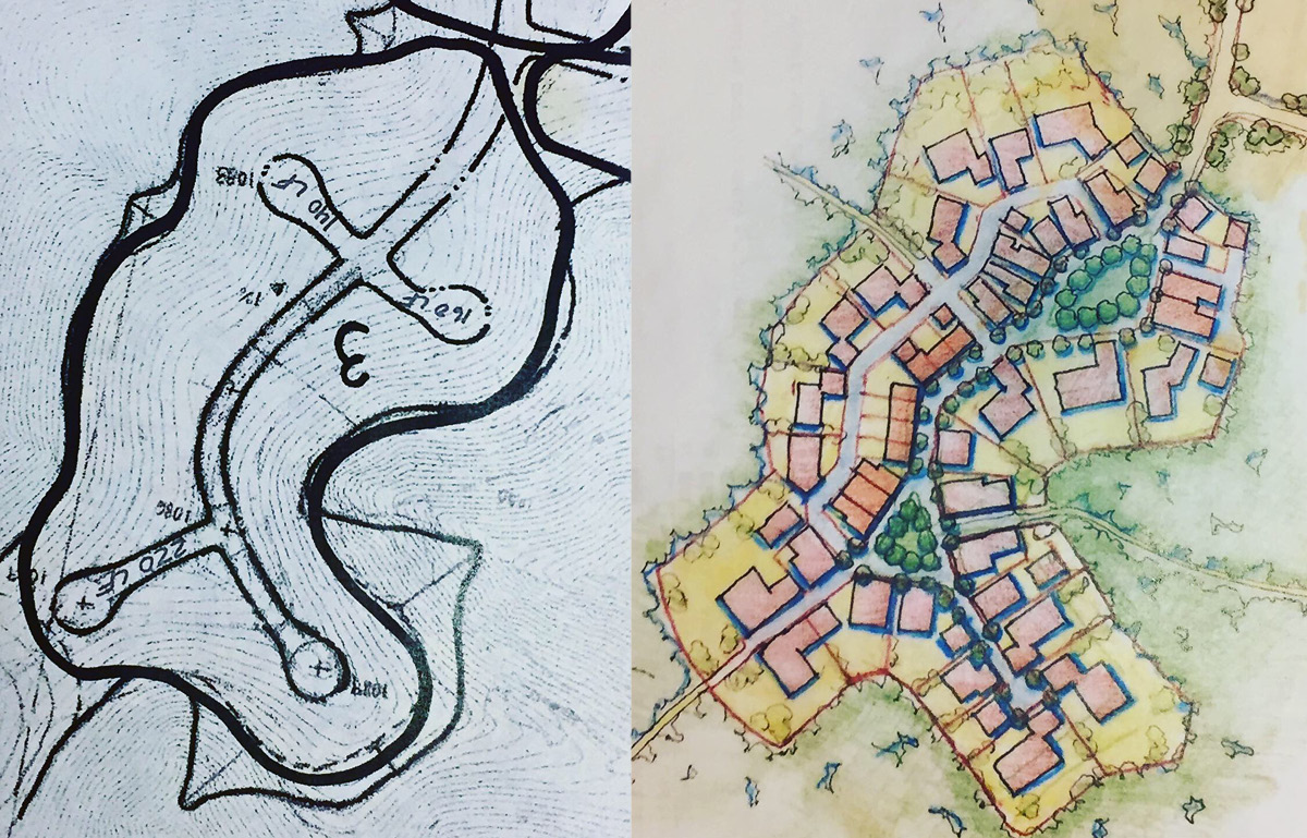 Conventional suburban versus hamlet design